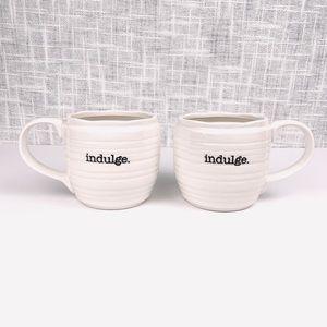 """""""Indulge"""" oversized white coffee mugs, set of 2"""